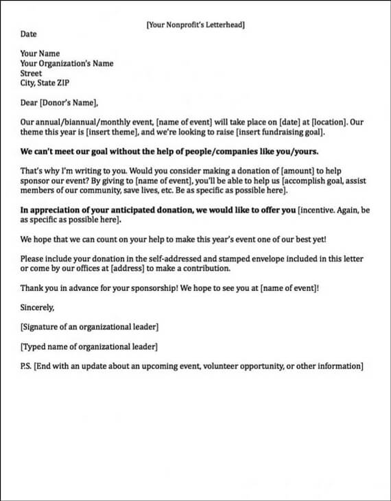 Event Sponsorship Letter Template  Application For Sponsorship Template