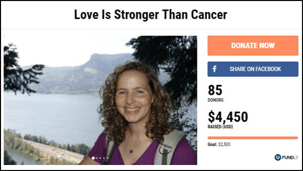Check out this crowdfunding campaign that raised money for a cancer patient.