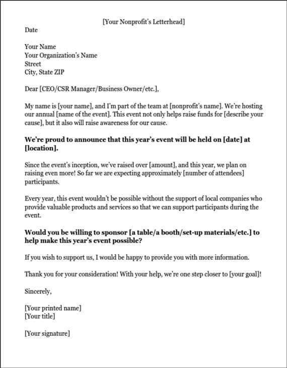 Example Of A Sponsorship Letter Requesting In Kind Donations  Letter Of Sponsorship Template