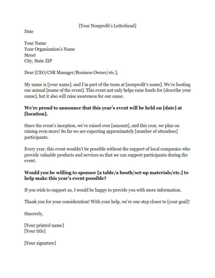 Sponsorship Letters Learn How to Raise More Money With Examples – Raise Letter Template