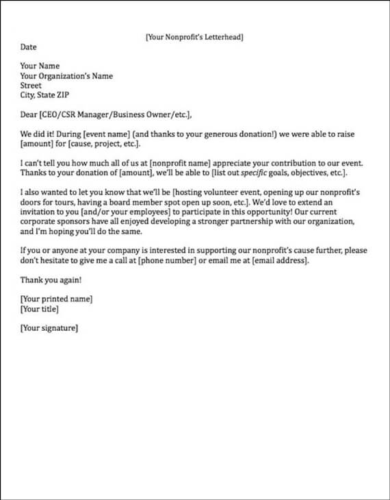Example Of A Sponsorship Acknowledgement Letter  Letter Of Sponsorship Template