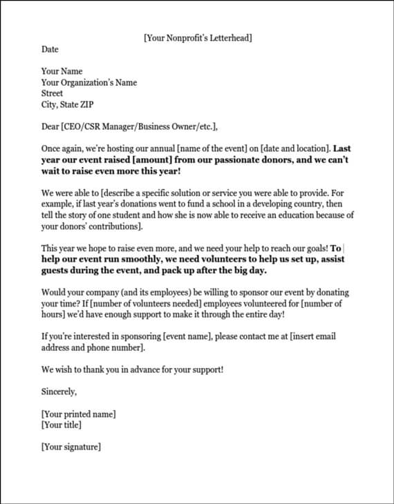 Sponsorship letters write great proposals with 12 templates example of a sponsorship letter requesting volunteers stopboris Gallery