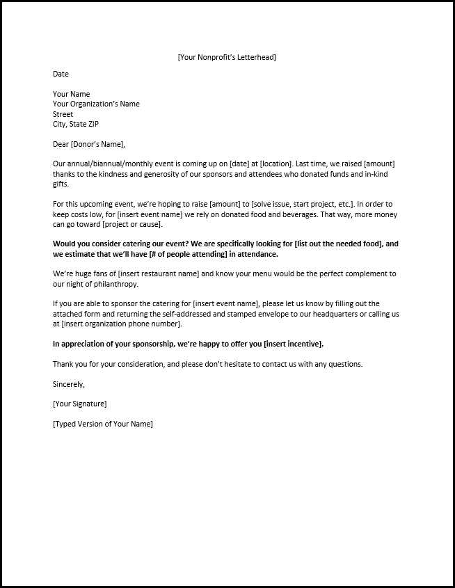 Example Of A Sponsorship Letter For Food