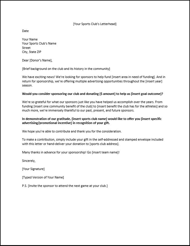 Wonderful Sponsorship Letter Template For Sports Clubs Pertaining To Letter Of Sponsorship Template