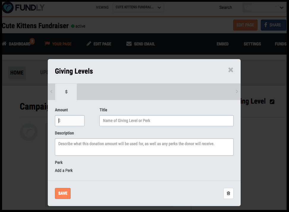 Determine your giving levels - Fundraising perks