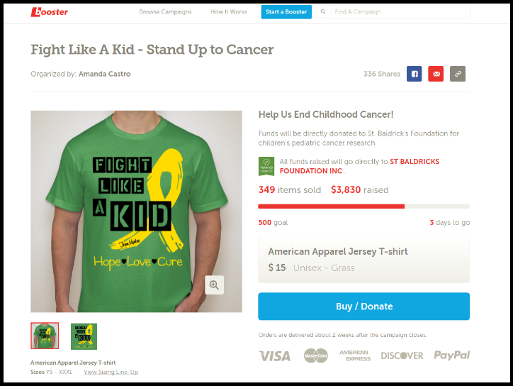 Booster enables fundraisers to raise money and awareness by creating custom t-shirts.