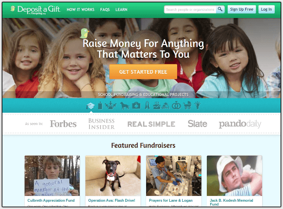 Deposit a Gift is a GoFundMe alternative that includes registry and fundraising features.
