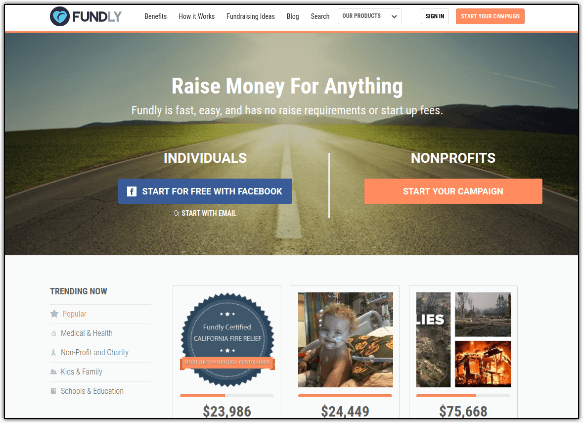 Fundly is a GoFundMe alternative perfect for all kinds of individual and nonprofit fundraising.