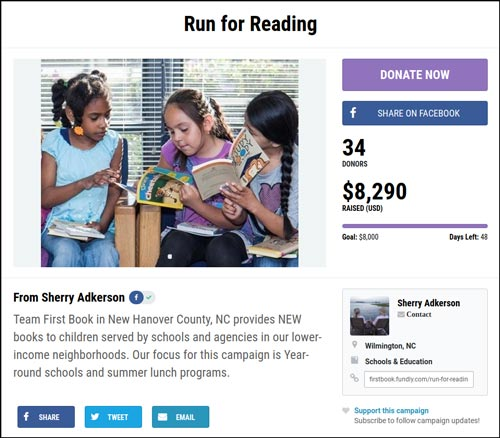 Check out the Run for Reading crowdfunding campaign.