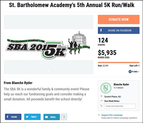 Learn more about the successful crowdfunding campaign known as SBA Annual 5K.