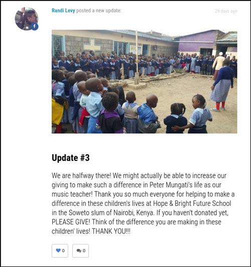 Crowdfunding Examples for Schools and Education: Campaign Update from A Teacher for Nairobi