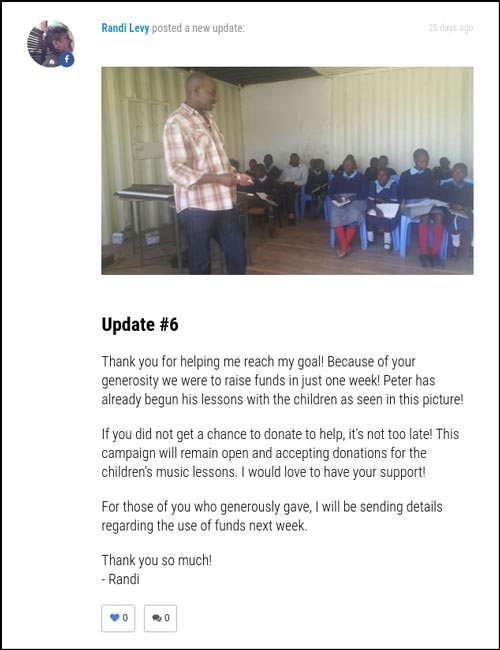 Crowdfunding Examples for Schools and Education: Campaign Update from A Teacher for Nairobi 2