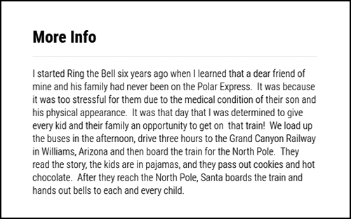 A heartwarming description for the Ring the Bell 2017 crowdfunding campaign.