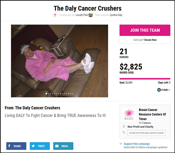 The Daly Cancer Crushers is a prime example of a crowdfunding campaign that used updates to promote their fundraiser.