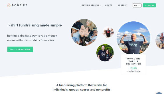 Bonfire is a personal fundraising platform that enables users to create and sell custom t-shirts.