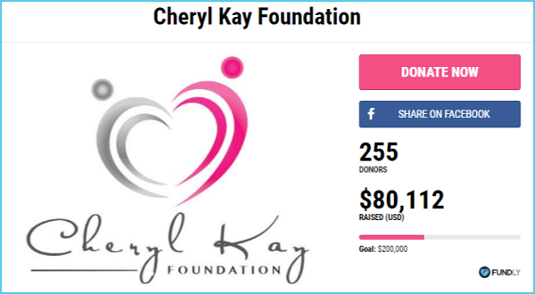 The Cheryl Kay Foundation raised over $80,000 with a crowdfunding campaign on Fundly.