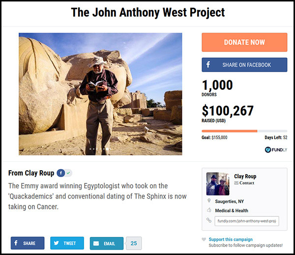 The ninth most funded crowdfunding campaign is The John Anthony West Project.
