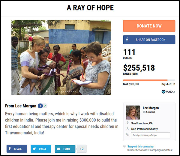 The Ray of Hope is number 7 on our most funded crowdfunding campaigns.
