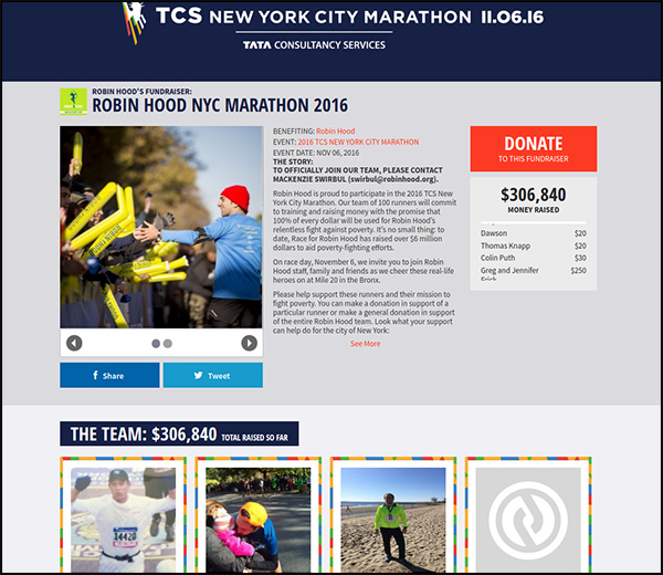 The Robin Hood NYC Marathon is the sixth most funded crowdfunding campaign on our list.