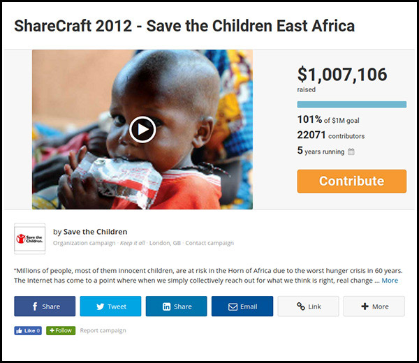 The fourth most funded crowdfunding campaign is Save the Children East Africa.
