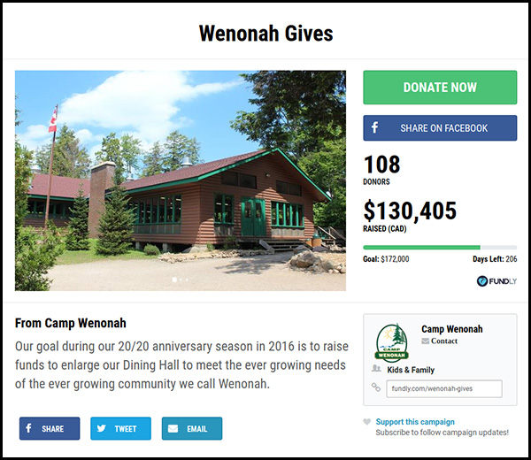 Number 8 on our list of the most funded crowdfunding campaigns is the Wenonah Gives fundraiser.