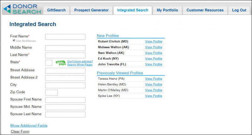 DonorSearch's prospect research software builds comprehensive prospect profiles.
