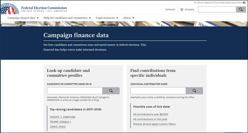 It's easy to search for major political contributors through FEC.gov's prospect research software.