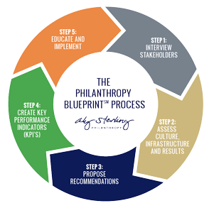 The Philanthropy Blueprint is a 6-step process that Aly Sterling consultants use to asses nonprofits.