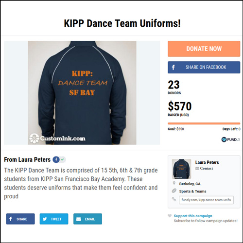 bc472774ab The KiPP dance and cheer team exceeded their fundraising goal in order to  provide uniforms for