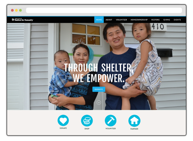 This nonprofit website displays strong calls-to-action to encourage year-end giving.