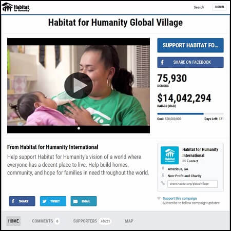 Here's the main page for the Habitat for Humanity Global Village campaign.