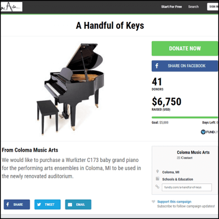 "Here's the main page for the ""A Handful of Keys"" crowdfunding campaign."