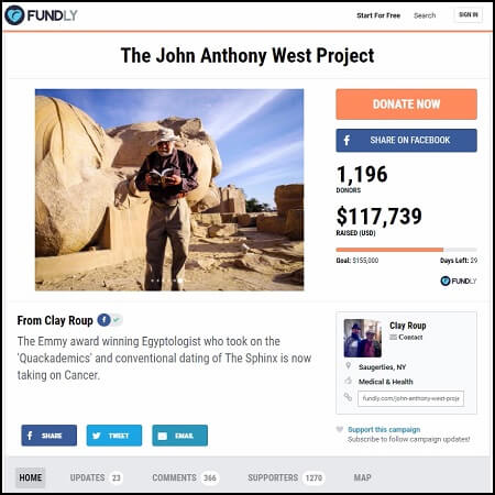 Here's the main crowdfunding page for the John Anthony West campaign.