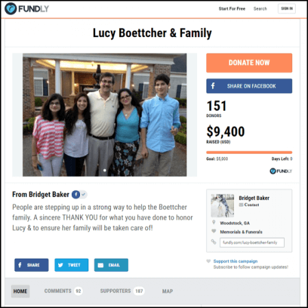 Here's the main page for the Lucy Boettcher & Family crowdfunding campaign.