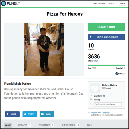 Check out the main crowdfunding page for the Pizza for Heroes campaign.