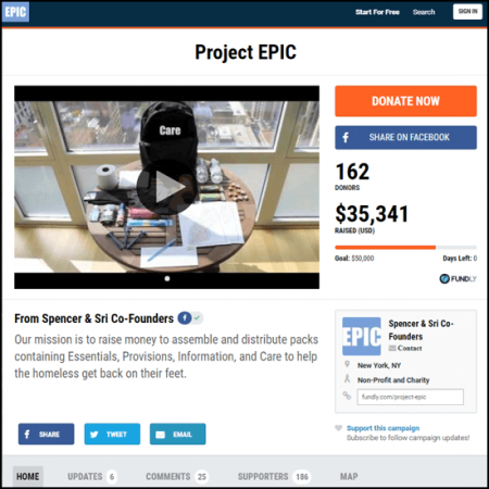 Here's the Project Epic crowdfunding campaign main page.