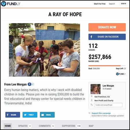 Here's the main crowdfunding page for the Ray of Hope campaign.