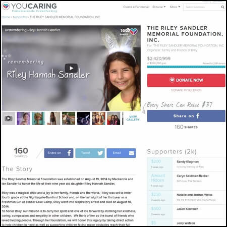 Here's the main page for the Riley Sandler Memorial Foundation.