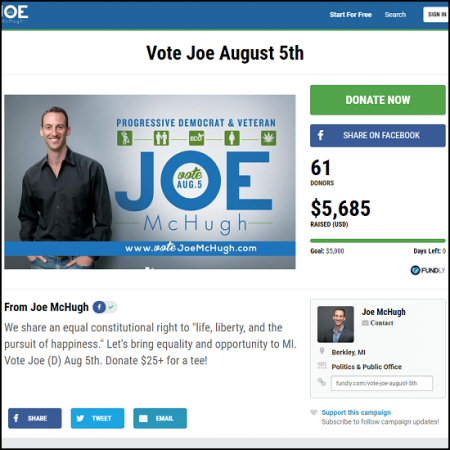 Here's the main crowdfunding page for the Vote Joe campaign.