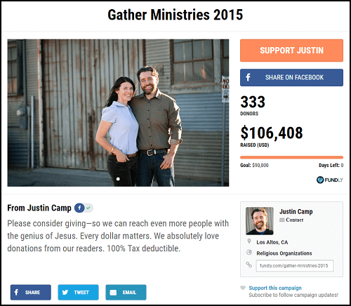 Here's a very successful Christian crowdfunding campaign for Gather Ministries.