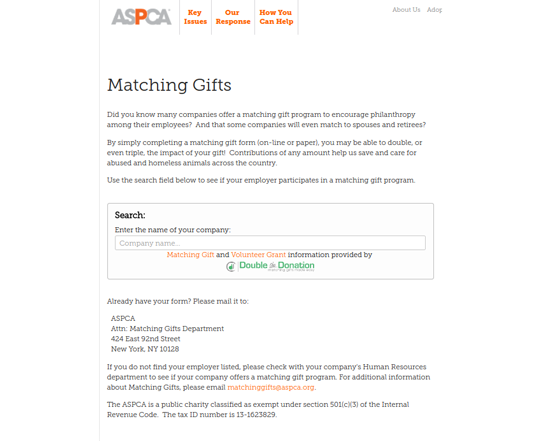 The ASPCA uses Double the Donation's matching gift database to drive donors toward matching gifts.