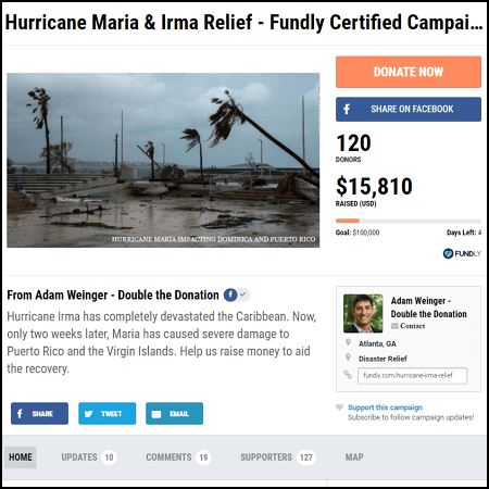 Help raise money for Hurricane Maria victims by donating to and sharing a crowdfunding campaign.