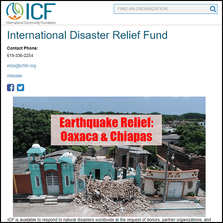 Donate to the ICF's International Disaster Relief Fund and contribute to the earthquake relief.