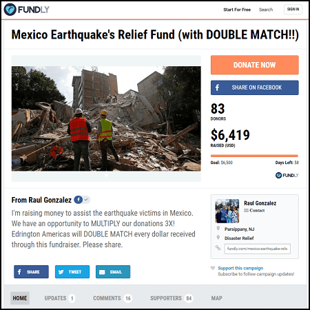 Donate to this crowdfunding campaign for Mexico earthquake relief run by Raul Gonzalez and Edrington Americas.
