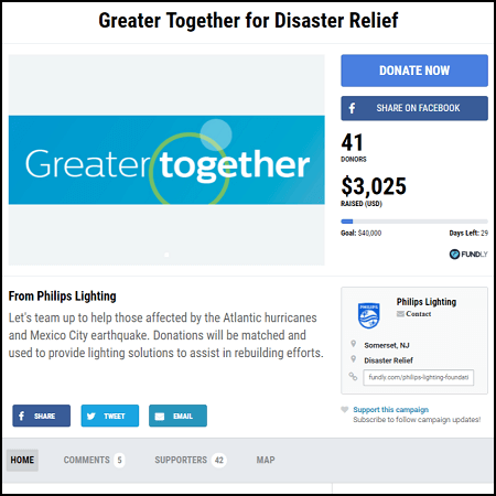 When you donate to the Philip's Lighting Hurricane Maria (and Puerto Rico) relief crowdfunding campaign, your gift is doubled.