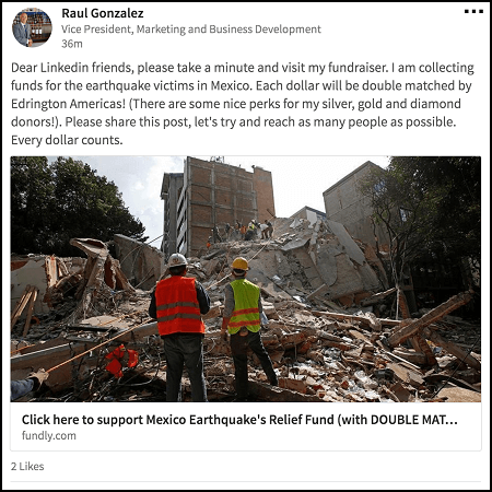 Share this crowdfunding campaign for Mexico earthquake relief run by Raul Gonzalez and Edrington Americas.
