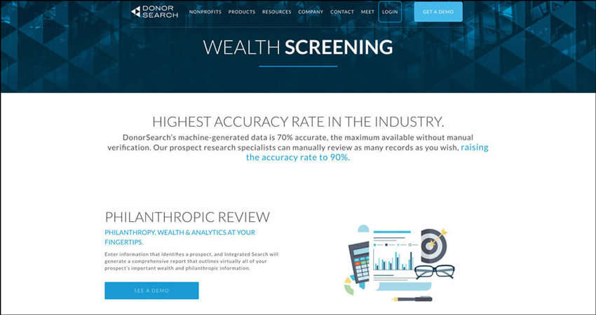 DonorSearch maintains a highly accurate automatic and manual wealth screening software system.