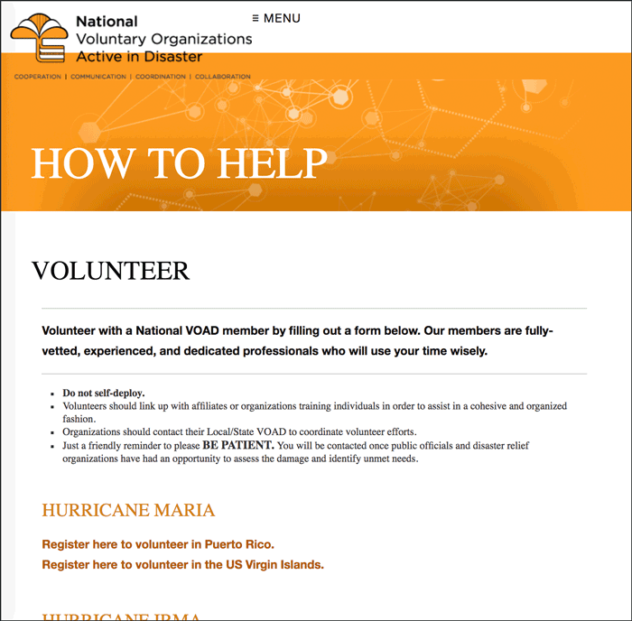 Hurricane Nate Volunteer Opportunities