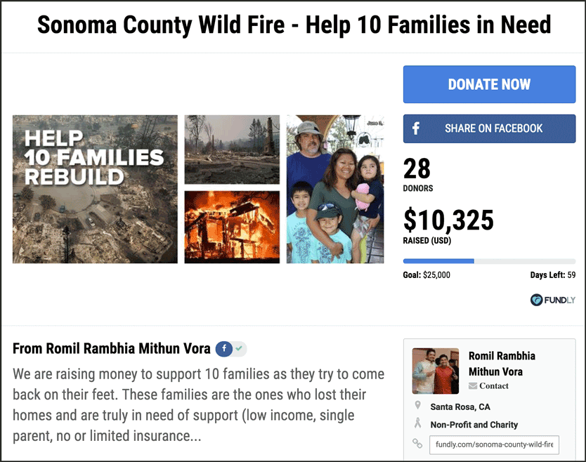 Sonoma County Fire Help 10 Needy Families