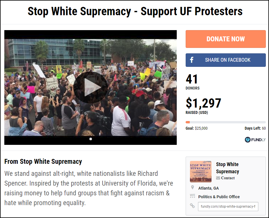 Stop White Supremacy and Support UF Protesters